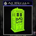 Doctor Who TARDIS Bad Wolf Decal Sticker Lime Green Vinyl 120x120
