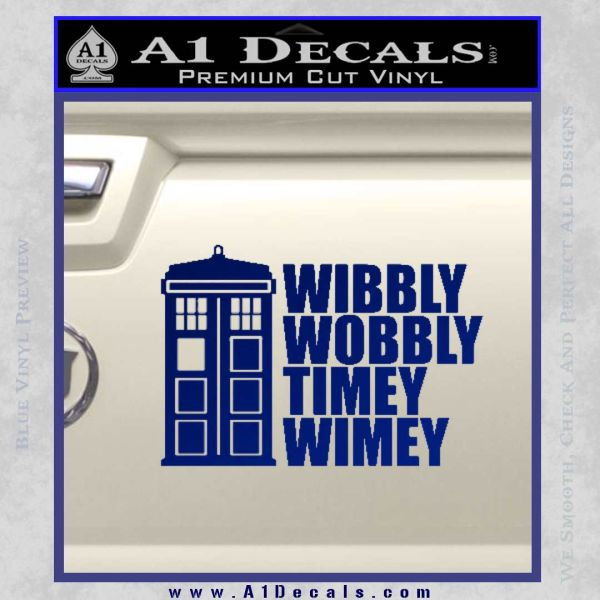 Doctor Who TARDIS Wibbly Wobbly Decal Sticker Blue Vinyl