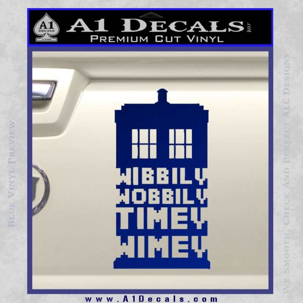 Doctor Who Tardis Wibbly Wobbly Timey Wimey Decal Sticker Blue Vinyl