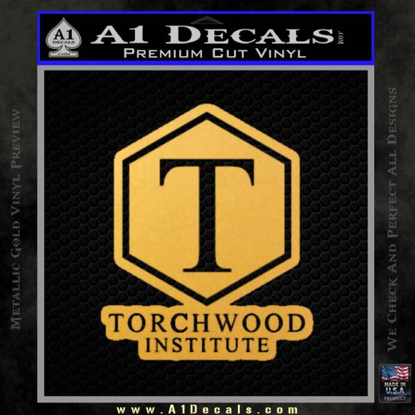Doctor Who Torchwood Institute T Decal Sticker Gold Vinyl