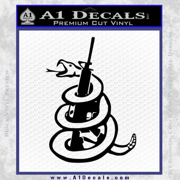 Dont Tread On Me Snake Machine Gun Decal Sticker Black Vinyl