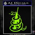 Dont Tread On Me Snake Machine Gun Decal Sticker Lime Green Vinyl 120x120