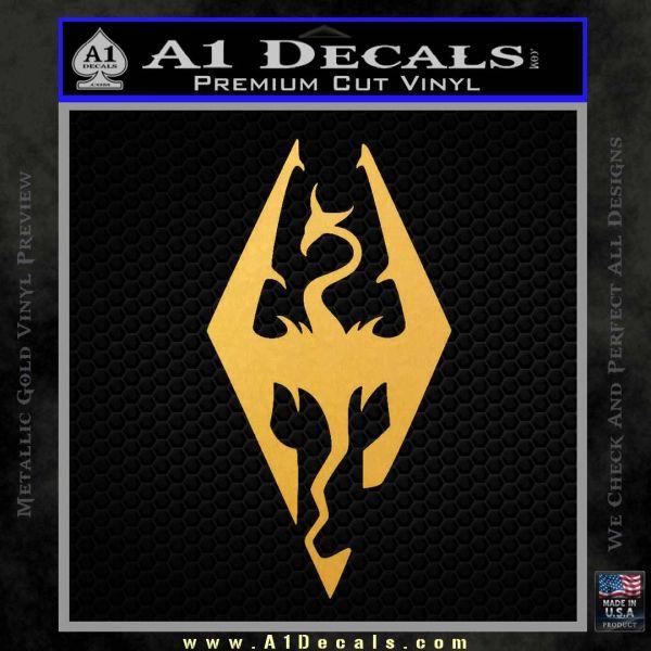 Elder Scrolls Skyrim Decal Sticker Gold Vinyl