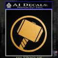 Greek God Hammer Decal Sticker D1 Gold Metallic Vinyl Black 120x120