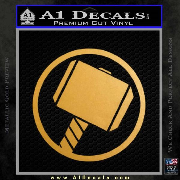 Greek God Hammer Decal Sticker D1 Gold Metallic Vinyl Black