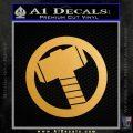 Greek God Hammer Decal Sticker D2 Gold Metallic Vinyl Black 120x120