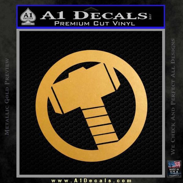 Greek God Hammer Decal Sticker D2 Gold Metallic Vinyl Black