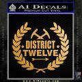 Hunger Games Decal Sticker District 12 Gold Metallic Vinyl Black 120x120