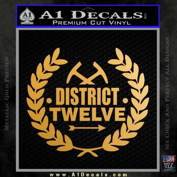 Hunger Games Decal Sticker District 12 Gold Metallic Vinyl Black
