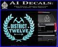 Hunger Games Decal Sticker District 12 Light Blue Vinyl Black 120x97