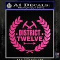 Hunger Games Decal Sticker District 12 Neon Pink Vinyl Black 120x120