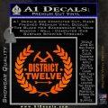 Hunger Games Decal Sticker District 12 Orange Emblem Black 120x120