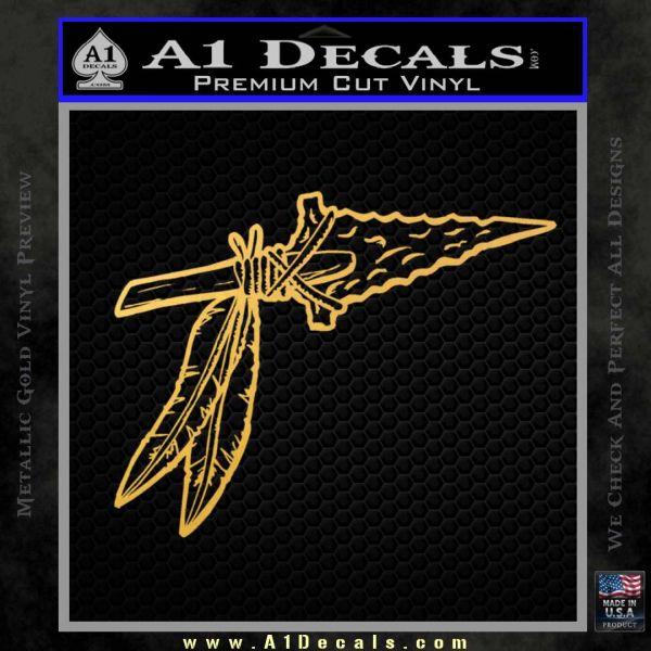 Indian Spear Tip Decal Sticker Gold Vinyl