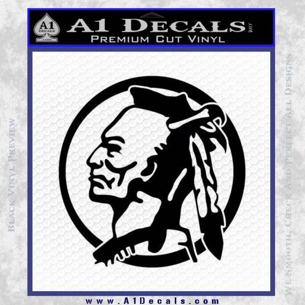 Indian Warrior Decal Sticker Black Vinyl