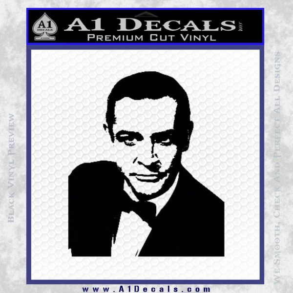 James Bond 007 Sean Connery Decal Sticker Black Vinyl