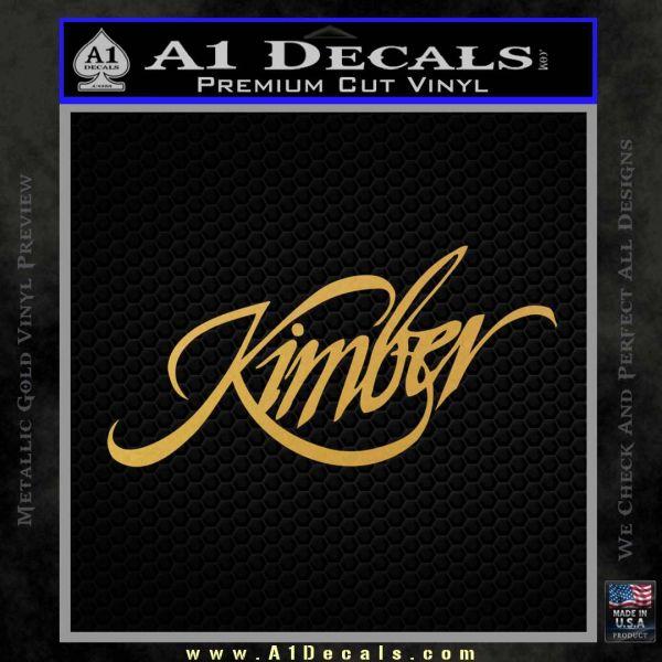 Kimber Firearms Decal Sticker Gold Vinyl