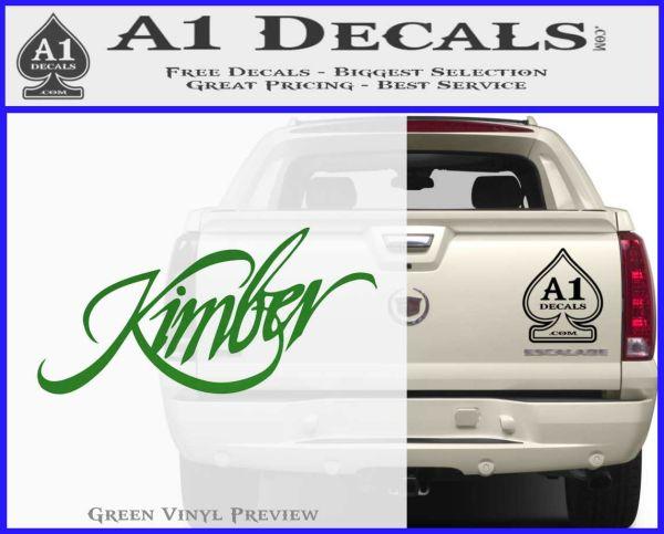 Kimber Firearms Decal Sticker Green Vinyl Logo