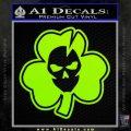 Lucky Skull Shamrock Irish Luck Decal Sticker Lime Green Vinyl 120x120