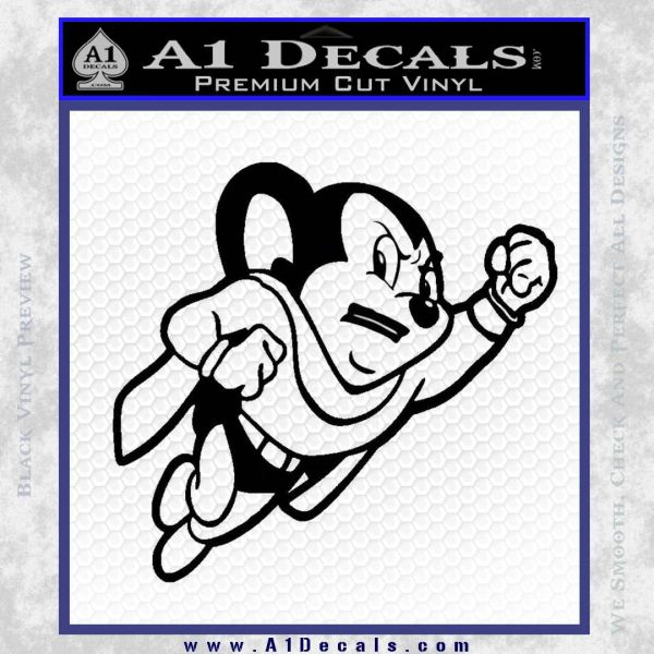 Mighty Mouse Decal Sticker Classic Black Vinyl