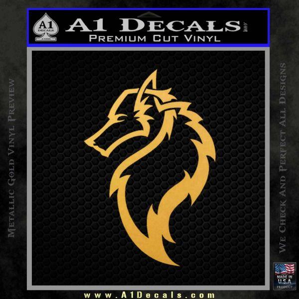 Tribal Wolf Head Decal Sticker D2 Gold Vinyl