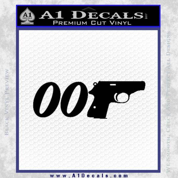 007 PPK James Bond Walther Decal Sticker D2 Black Vinyl