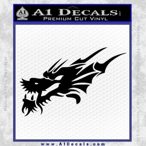 Asian Dragon Head Decal Sticker Black Vinyl