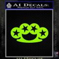 Brass Knuckles Decal Sticker Rock Star Lime Green Vinyl 120x120