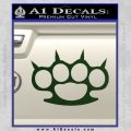 Brass Knuckles Spiked Decal Sticker Dark Green Vinyl 120x120