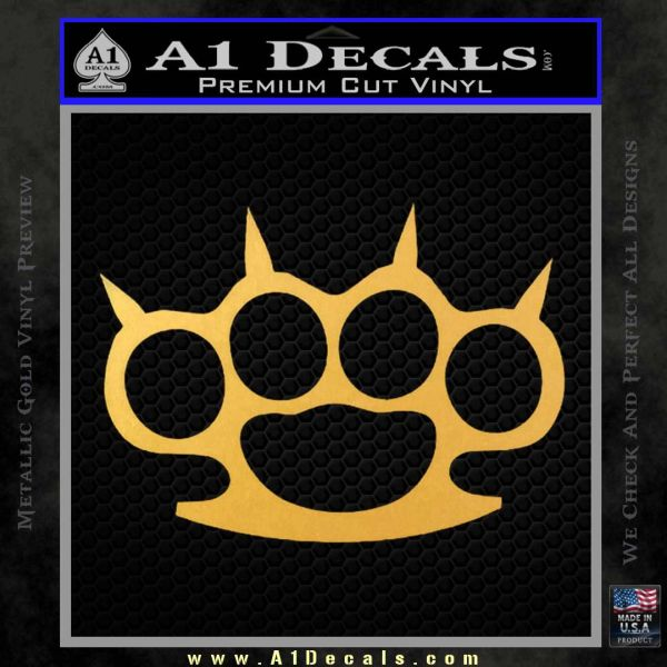 Brass Knuckles Spiked Decal Sticker Gold Vinyl