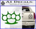 Brass Knuckles Spiked Decal Sticker Green Vinyl Logo 120x97