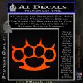 Brass Knuckles Spiked Decal Sticker Orange Emblem 120x120