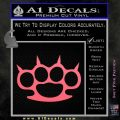 Brass Knuckles Spiked Decal Sticker Pink Emblem 120x120