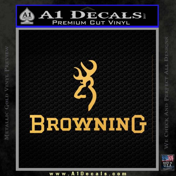 Browning Official Decal Sticker Gold Vinyl