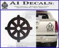 Buddhist Wheel Symbol Decal Sticker Carbon FIber Black Vinyl 120x97