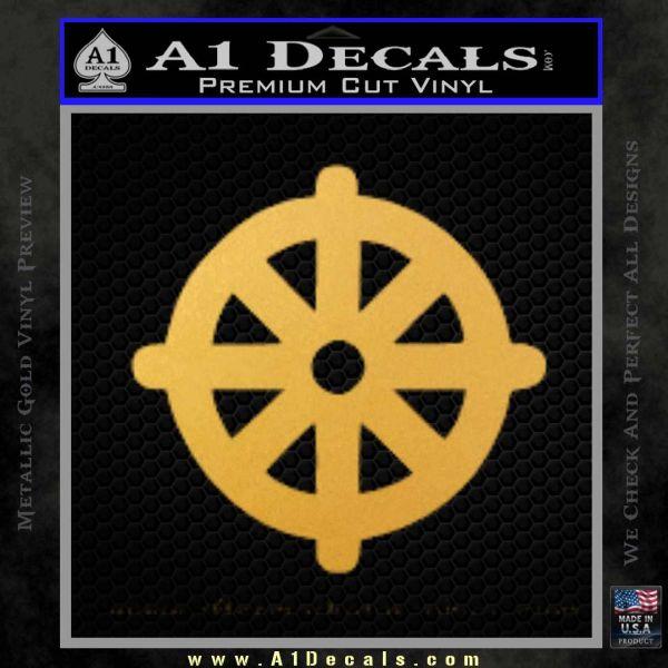 Buddhist Wheel Symbol Decal Sticker Gold Vinyl