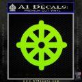 Buddhist Wheel Symbol Decal Sticker Lime Green Vinyl 120x120