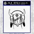 Cattle Skull Feather Cow Decal Sticker Black Vinyl 120x120