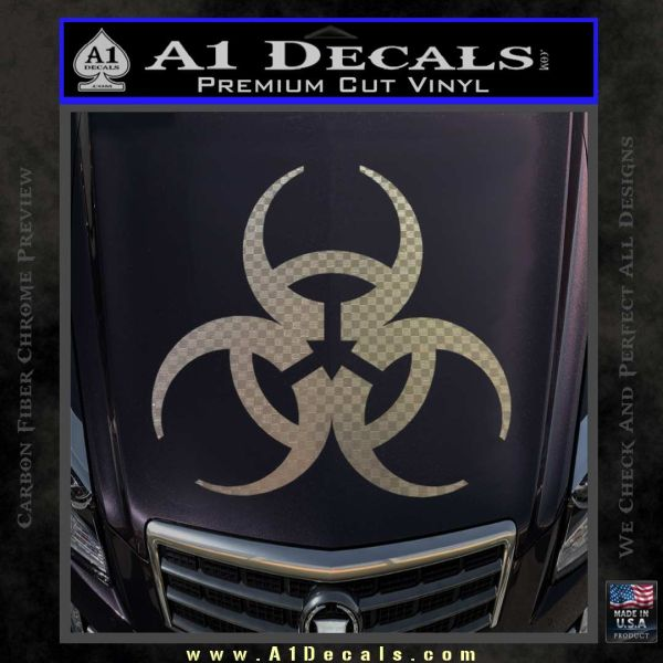 Futuristic Biohazard Decal Sticker D1 Carbon FIber Chrome Vinyl