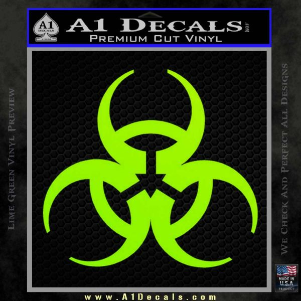 Futuristic Biohazard Decal Sticker D1 Lime Green Vinyl