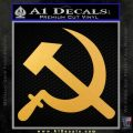 Hammer and Sickle Decal Sticker Gold Vinyl 120x120