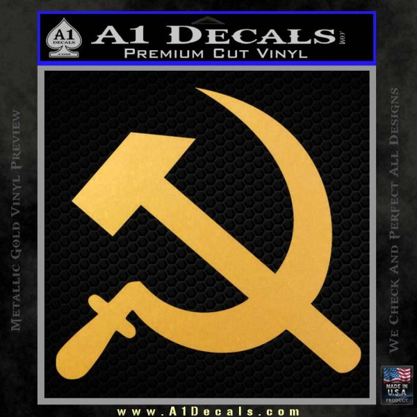 Hammer and Sickle Decal Sticker Gold Vinyl
