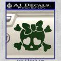 Heart Skull Cross and Crossbones Decal Sticker D2 Dark Green Vinyl 120x120