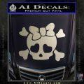 Heart Skull Cross and Crossbones Decal Sticker D2 Metallic Silver Emblem 120x120