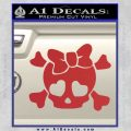 Heart Skull Cross and Crossbones Decal Sticker D2 Red 120x120