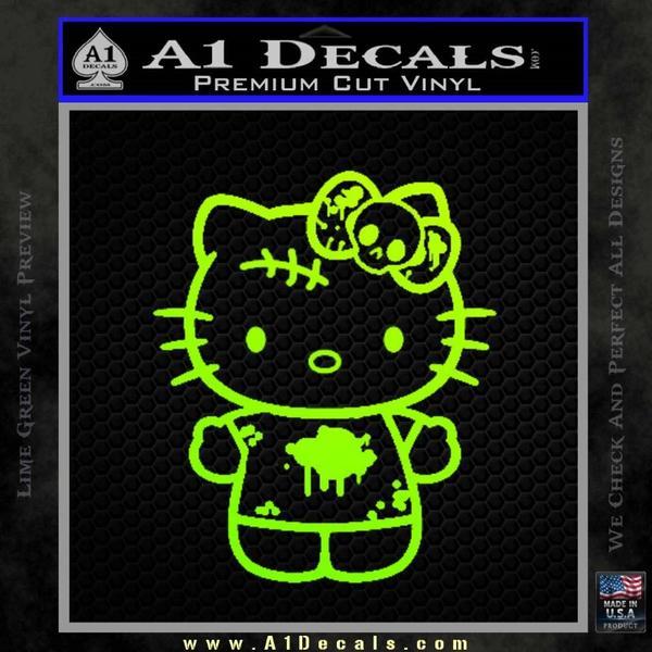 Hello Kitty Zombie Simple Decal Sticker Neon Green Vinyl Black