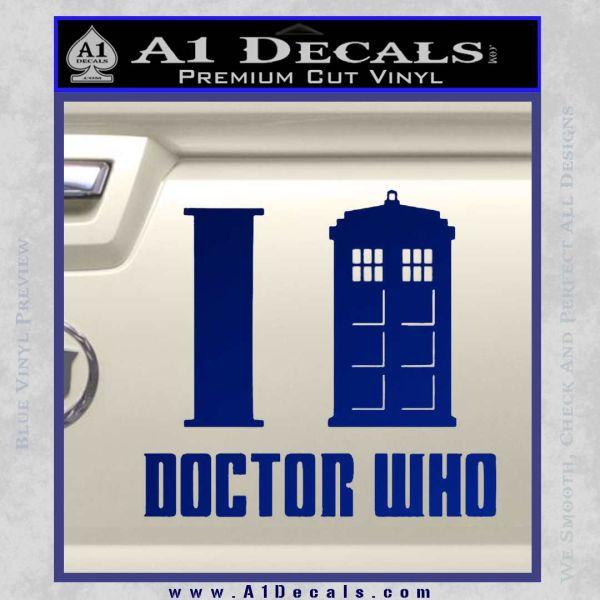 I TARDIS Doctor Who Decal Sticker Blue Vinyl