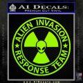 Alien Invasion Response Team Decal Sticker Lime Green Vinyl 120x120