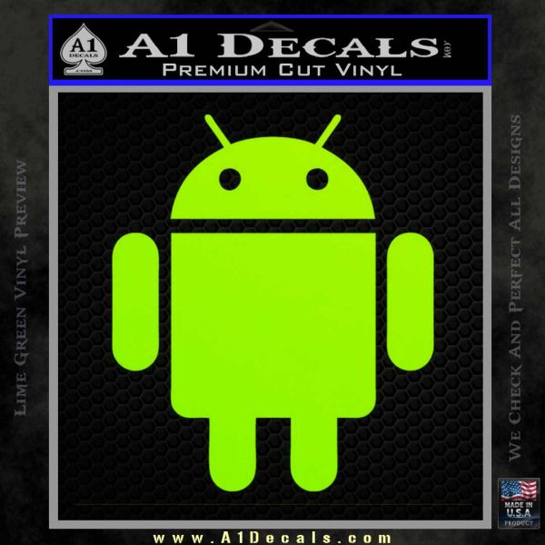 Android Official Logo Decal Sticker Lime Green Vinyl