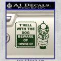 Beware Of Owner Decal Sticker Gun Dark Green Vinyl 120x120