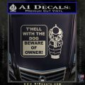 Beware Of Owner Decal Sticker Gun Metallic Silver Emblem 120x120
